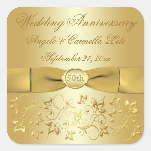 50th wedding anniversary gold floral sticker zazzle