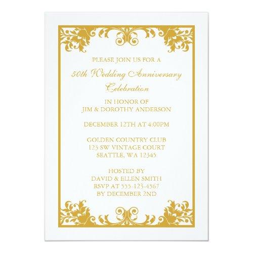 All categories unique wedding souvenir perfect for 50th anniversary wedding gold flourish elegant classy sophisticated fancy vintage 50th wedding anniversary invitations scroll stopboris Gallery