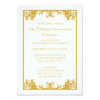 50th Wedding Anniversary Gold Flourish Scroll Card