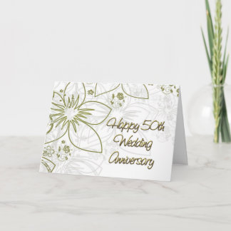 50th Wedding Anniversary Gold Flowers and Swirls Card