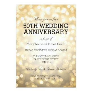 50th Wedding Anniversary Gold Glitter Lights Card