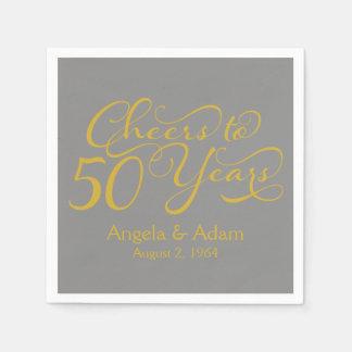 50th Wedding Anniversary Gold Grey Cheers Paper Napkin