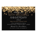 50th Wedding Anniversary Gold Lights 5x7 Paper Invitation Card