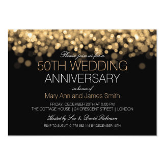 50th Wedding Anniversary Gold Lights Invitation