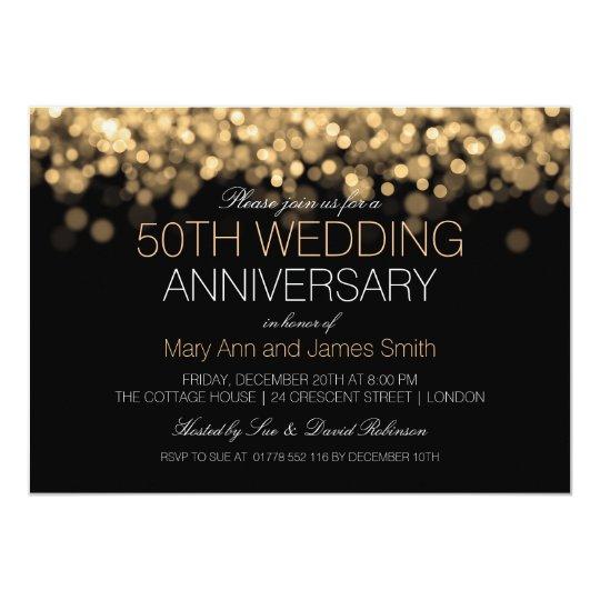 50th wedding anniversary gold lights invitation