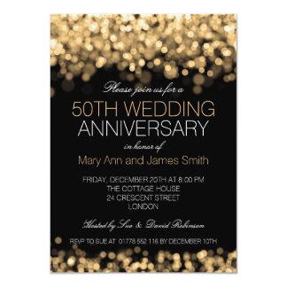 50th Wedding Anniversary Gold Lights 4.5x6.25 Paper Invitation Card