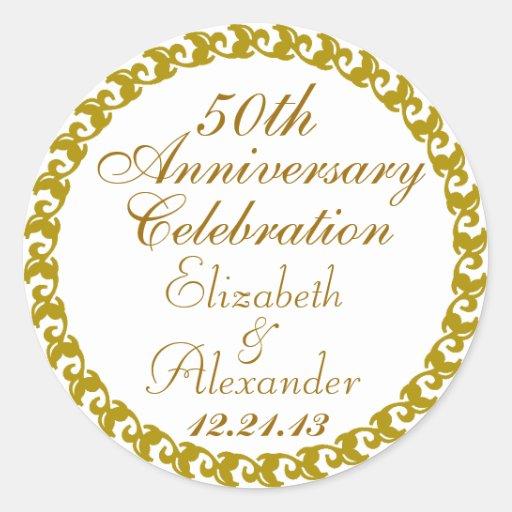50th Wedding Anniversary-Gold Medallion Round Stickers