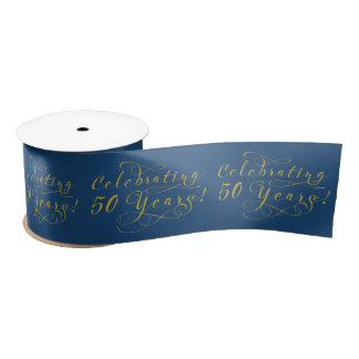 50th Wedding Anniversary Gold Navy Blue Satin Ribbon