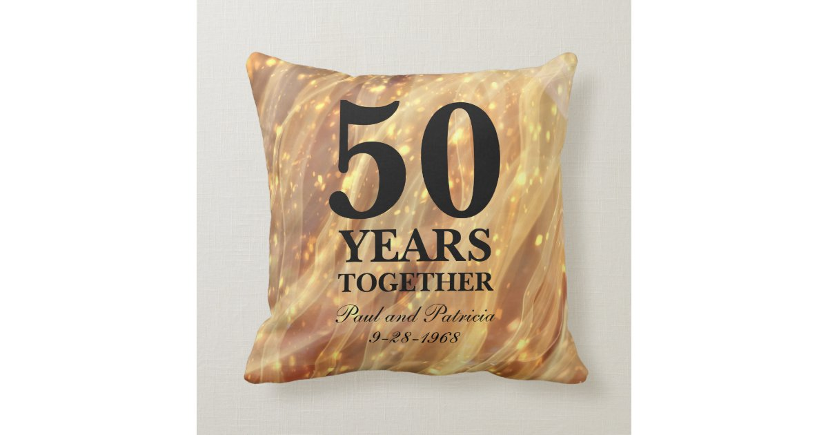 50th Wedding Anniversary Gift Pillows: 50th Wedding Anniversary Gold Party Lights Throw Pillow