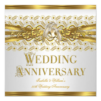 50th Wedding Anniversary Gold Rings Floral White Card