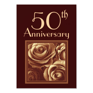 50th Wedding Anniversary GOLD Roses Card
