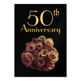50th Wedding Anniversary GOLD Roses Metallic Card