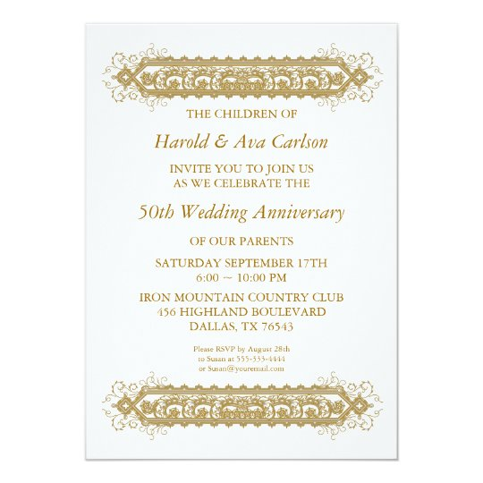 50th Wedding Anniversary Gold Scroll Party Card