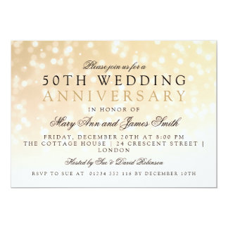 50th Wedding Anniversary Gold Sparkle Lights Card