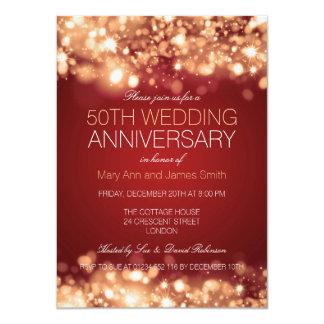 50th Wedding Anniversary Gold Sparkling Lights 4.5x6.25 Paper Invitation Card