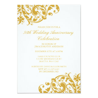 50th Wedding Anniversary Gold Swirl Flourish Invitation