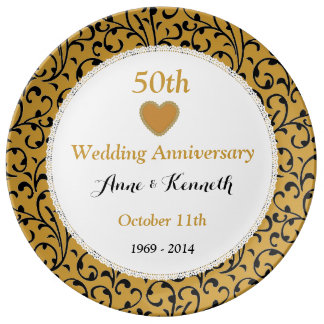 50th Wedding Anniversary Gold Swirls and Lace V09E Porcelain Plate