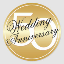 50th Wedding Anniversary Gold Toned Sticker