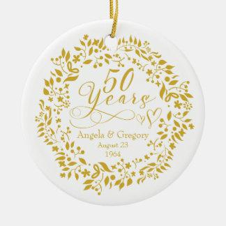 50th Wedding Anniversary Gold Wreath Hearts 50 Ceramic Ornament
