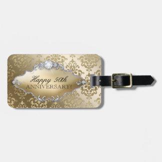 50th Wedding Anniversary Golden Damask Bag Tag