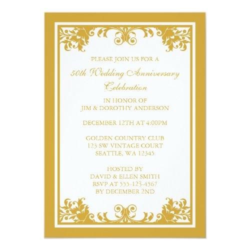 Unique wedding souvenir popular 50th wedding anniversary invitation 29 50th wedding anniversary golden flourish scroll 5x7 paper invitation card stopboris Image collections