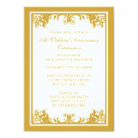 50th Wedding Anniversary Golden Flourish Scroll Personalized Invite
