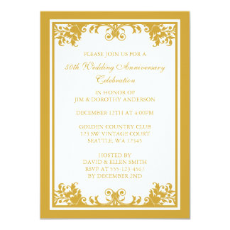 50th Wedding Anniversary Golden Flourish Scroll Invitation