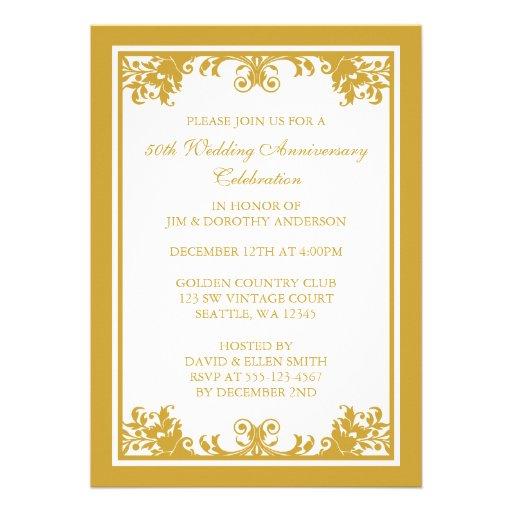 50th Wedding Anniversary Golden Flourish Scroll Personalized Invitation