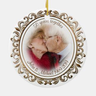 50th Wedding Anniversary Golden Frame Custom Photo Ceramic Ornament