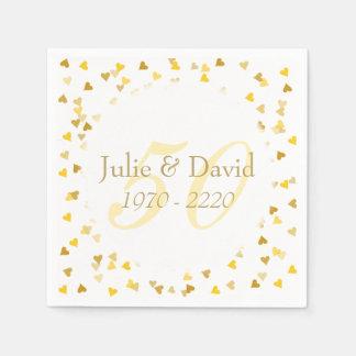 50th Wedding Anniversary Golden Hearts Confetti Paper Napkin