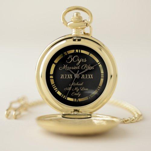 50th Wedding Anniversary Golden Husband Wife Named Pocket Watch