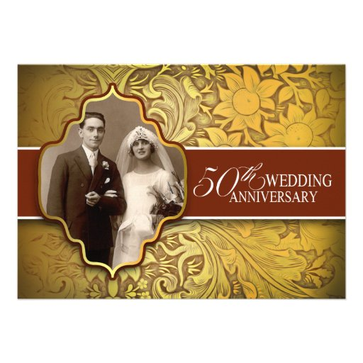 50th wedding anniversary golden photo invitations