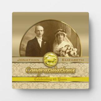 50th Wedding Anniversary Golden Topaz Damask Photo Plaque