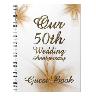 50th Wedding Anniversary Gift Ideas For Guests : 50th Wedding Anniversary Guest Book Gold Floral Spiral Notebook