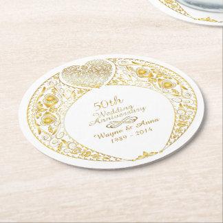 50th Wedding Anniversary Heart Wreath 1 Round Paper Coaster