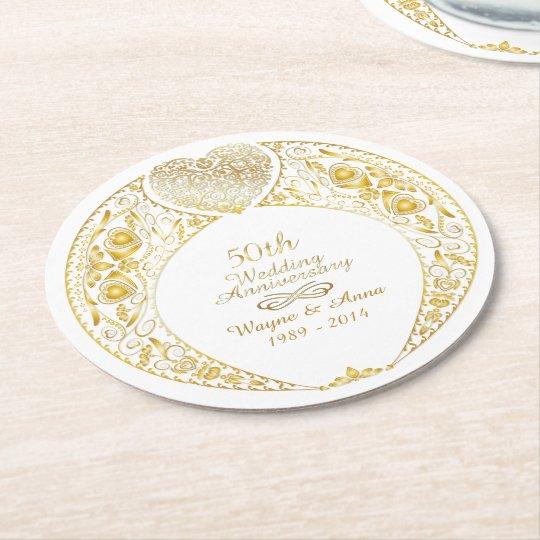 50th Wedding Anniversary Gift Etiquette: 50th Wedding Anniversary Heart Wreath 1 Round Paper