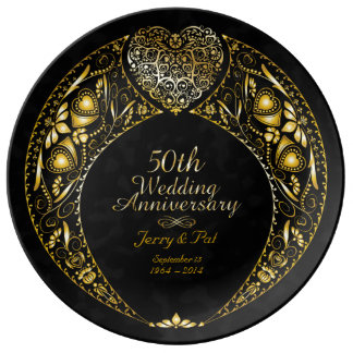 50th Wedding Anniversary Heart Wreath Plate