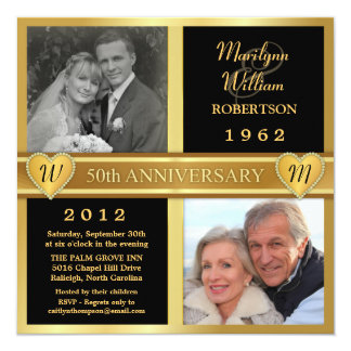 50th Wedding Anniversary Hearts Photo Invitations
