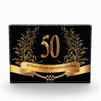 50th Wedding Anniversary Horizontal Block Award