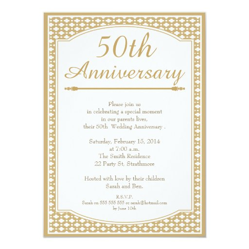 Th wedding anniversary invitation cm