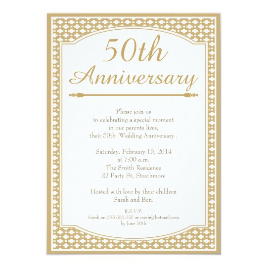 25 Anniversary Gift For Parents >> 50th Wedding Anniversary Invitation | Zazzle.com