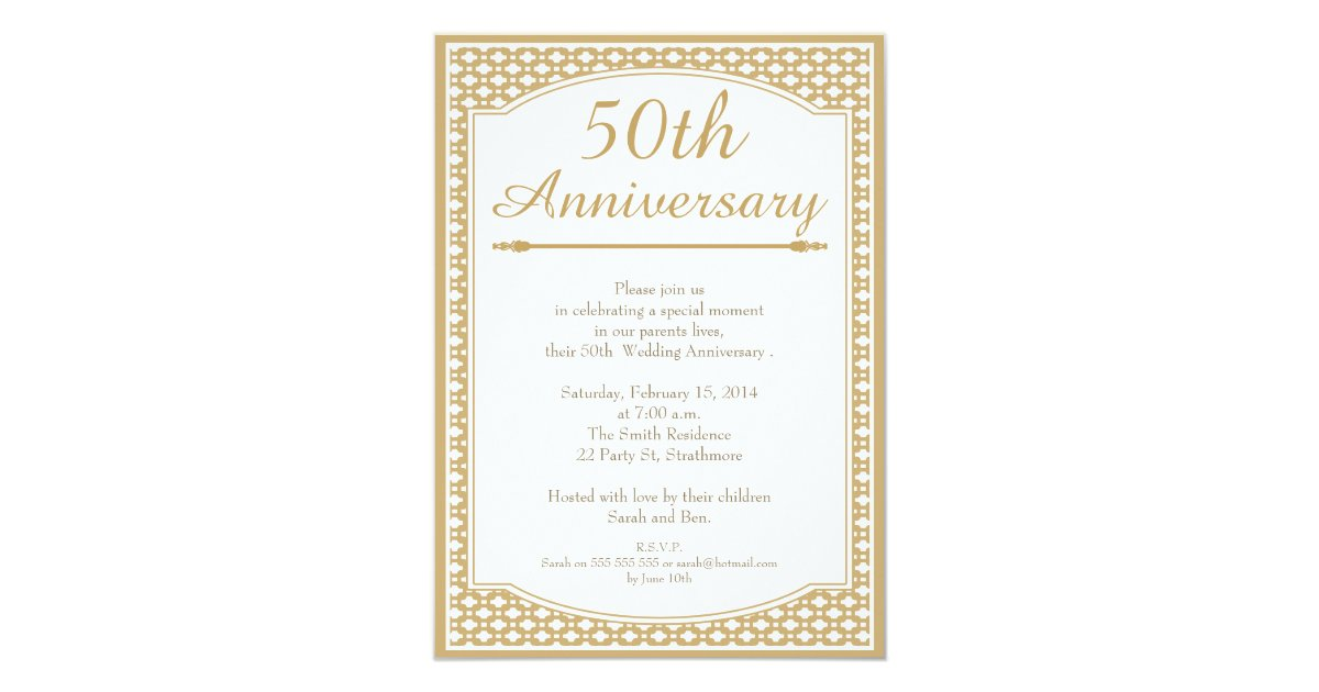 50th wedding anniversary invitation zazzle