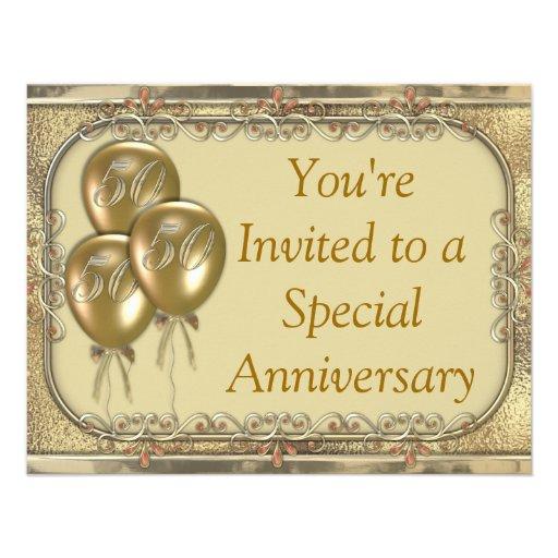 50th Wedding anniversary invitation announcement