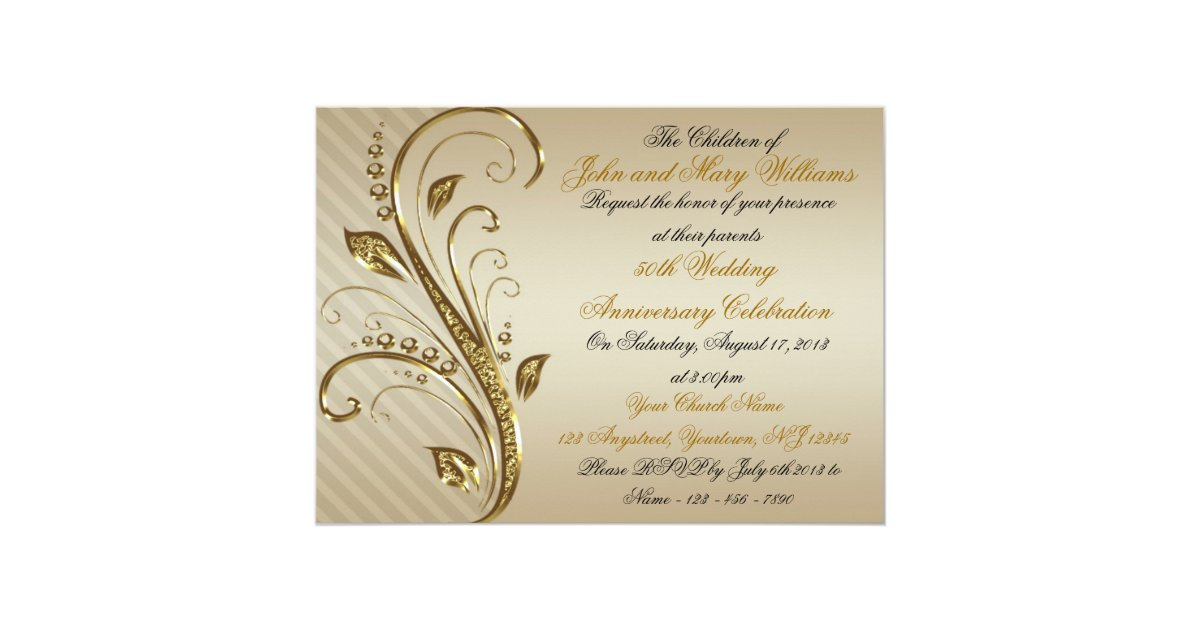 Fiftieth Wedding Anniversary Invitations: 50th Wedding Anniversary Invitation Card