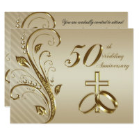 Golden anniversary invitations announcements zazzle 50th wedding anniversary invitation card stopboris Choice Image