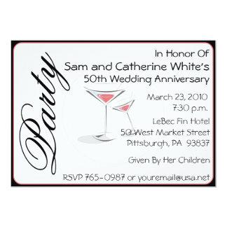 "50th Wedding Anniversary Invitation Cocktails 5"" X 7"" Invitation Card"