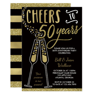 50th Wedding Anniversary Invitation, Faux Glitter Card at Zazzle