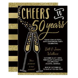50th wedding anniversary invitation faux glitter card