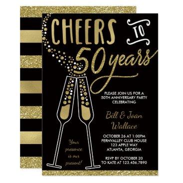 anniversarie 50th Wedding Anniversary Invitation, Faux Glitter Card