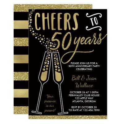 Black gold 50th wedding anniversary invitation zazzle stopboris Gallery